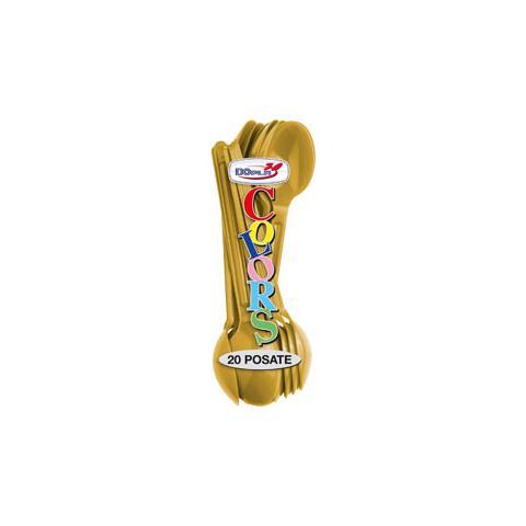 DOPLA 20 Cucchiai in Polistirolo Oro - Linea Colors