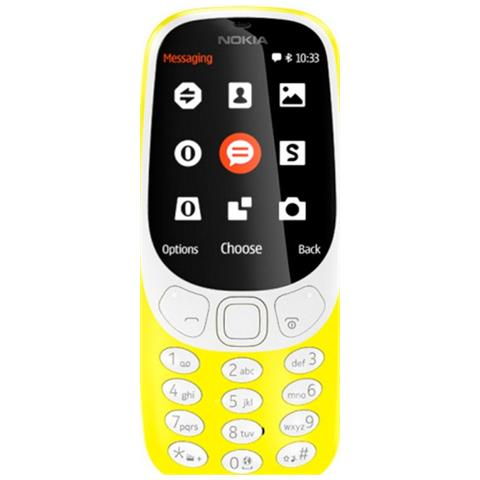 "NOKIA 3310 Giallo Dual Sim Display 2.4"" +Slot MicroSD con Bluetooth RadioFM e Fotocamera 2Mpx - Italia"