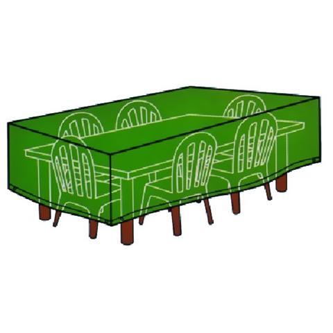 Telo di copertura per tavolo con sedie cover colore verde cm 180x270xh 90