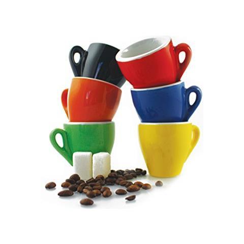 Colors Set 6 Tazzine Caffè, Ceramica, Multicolore, 6 Pezzi