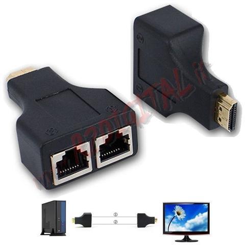 r2digital Convertitore Kit 2 Pezzi ? da Hdmi 1080p 3d Maschio A Rete Lan Rj45 Femmina Adattatore Prolunga Monitor Tramite Cavo Ethernet