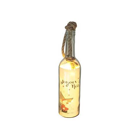 Bottiglia Decorazione Natalizia Noel / merry Christmas Con Luci Led - Bottiglia Decorazione Natalizia Merry Con Luci Led