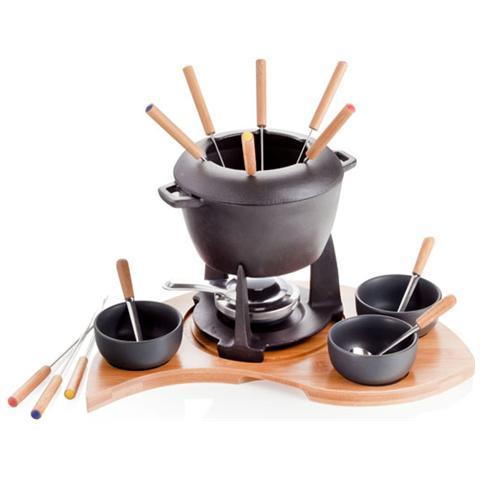 Fonduta Mezzaluna con Supporto set 17 pezzi Ghisa Bamboo