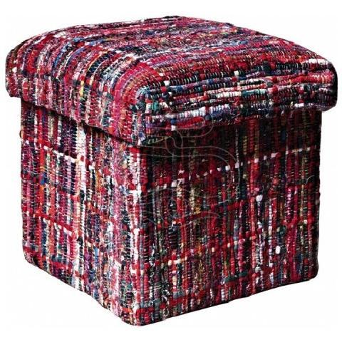 Stones Pouf Contenitore Realizzato In Tessuto Patchwork E Lana Riciclata Multicolor Ca 044 A