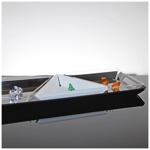 Set Composto Da 4 Vassoi Per Apertivi, Tapas E Snack Design Moderno In Plexiglass Clover - Colore Nero