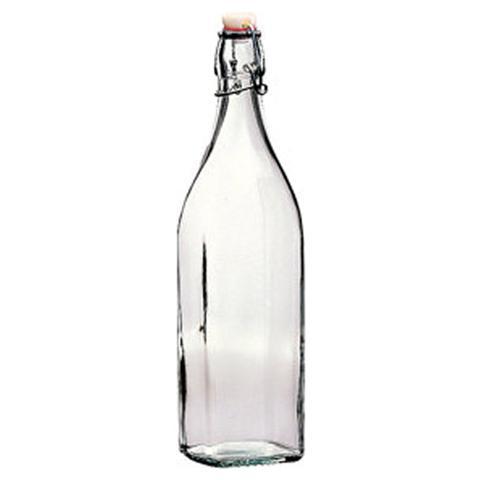 BORMIOLI Bottiglia in Vetro Quadra Capacità 1 Lt. - Modello Swing