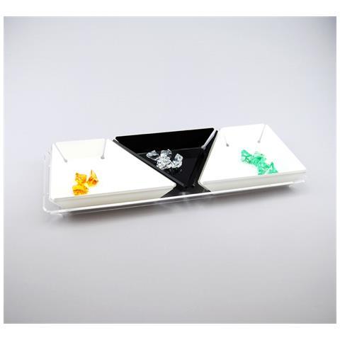 Set Composto Da 4 Vassoi Per Apertivi, Tapas E Snack Design Moderno In Plexiglass Clover - Colore Trasparente