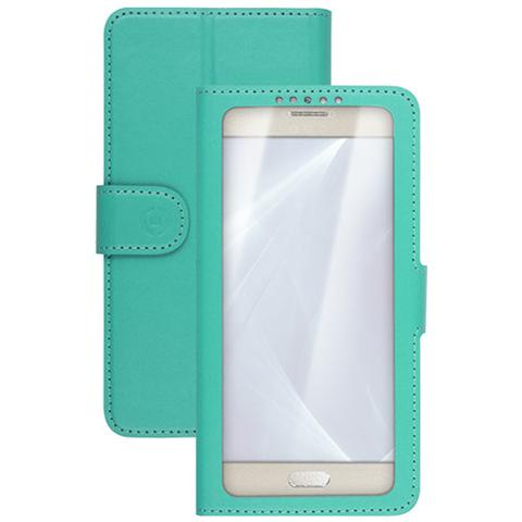 "CELLY UnicaView Flip Cover con sistema Slide Touch per smartphone da 5"" a 5.5"" - Verde"