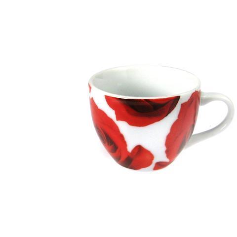 Set 6 Tazze Caffè Porcellana Senza Piatti Rose Cc105 Prima Colazione