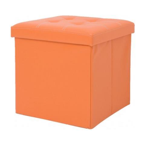 Mobili Rebecca Pouff Contenitore Cubo Baule Portaoggetti Arancione Ecopelle