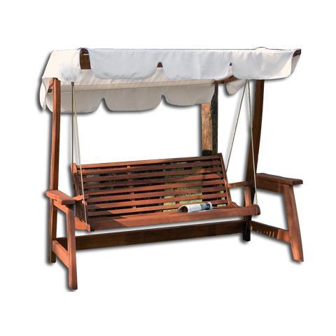 Dondolo a 3 posti in legno completo di cuscini