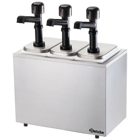 Dispenser salse a tre pompe con contenitore 100323