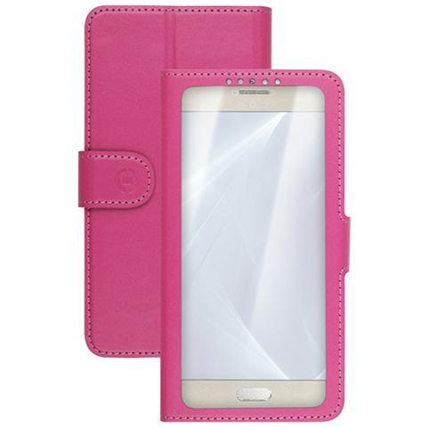 """CELLY UnicaView Flip Cover con sistema Slide Touch per smartphone da 4.5"""" a 5"""" - Rosa"""