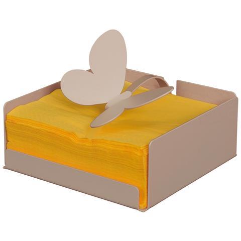 """Porta Tovaglioli """"farfalla"""" Beige Dimensione: 17x17px7h Materiale: Ferro"""