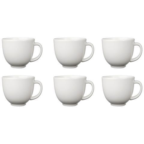 Set 6 Tazzine 100ml Bianco Bianche Ceramica Con Manico Tazza Da Caffe Caffe' Bicchiere Espressino Bar