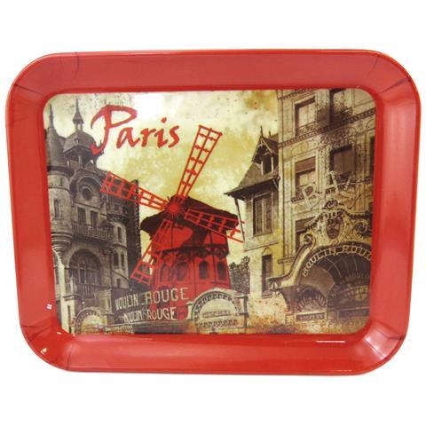 piccolo vassoio 'moulin rouge' rosso vintage beige (15x20 cm) - [ m1324]