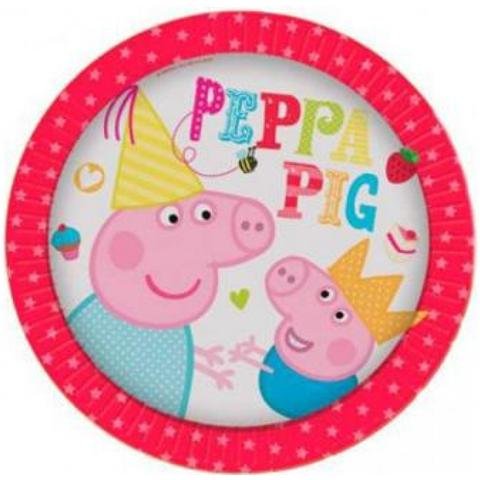 COMO GIOCHI Peppa Pig - Party Time - 8 Piatti 18 Cm