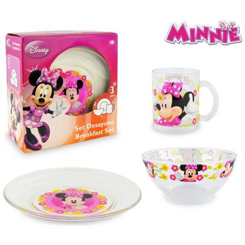 Minnie Wd7400 Set Da Colazione Mouse Con Scodella Tazza E Piattino In Vetro