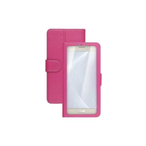 "CELLY UnicaView Flip Cover con sistema Slide Touch per smartphone da 4"" a 4.5"" - Rosa"