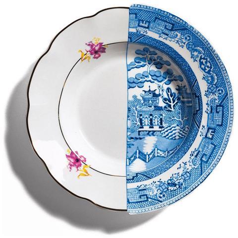 SELETTI Piatto Fondo in Porcellana Bone China Decorata Diametro Cm. 25,4 Altezza Cm. 4,2 Fillide - Linea Hybrid