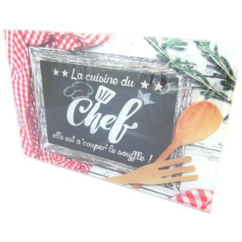 Tavola Da Taglio / Vetro Da Piatto 'messages' (cucina Di Chef) - 30x20 Cm - [ p2918]
