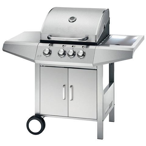 Barbecue A Gas Con Fornello 4 Fornelli In Acciaio Inox Con Ruote Top Inox Ferraboli