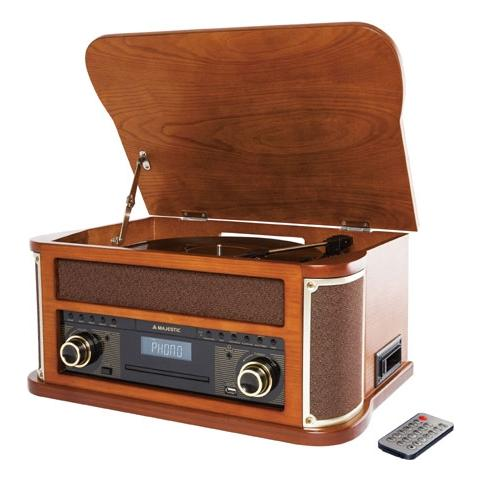 MAJESTIC Giradischi Retrò TT-44 BT USB / CD / MP3 / Cassetta Radio AM / FM