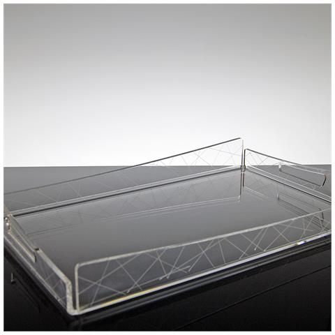 Vassoio Rettangolare Da Portata Design Moderno In Plexiglass Trasparente Mauve