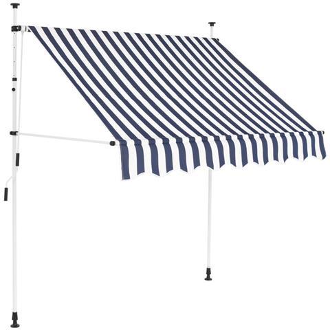 Tenda Da Sole Retrattile Manuale 200 Cm A Strisce Blu E Bianche
