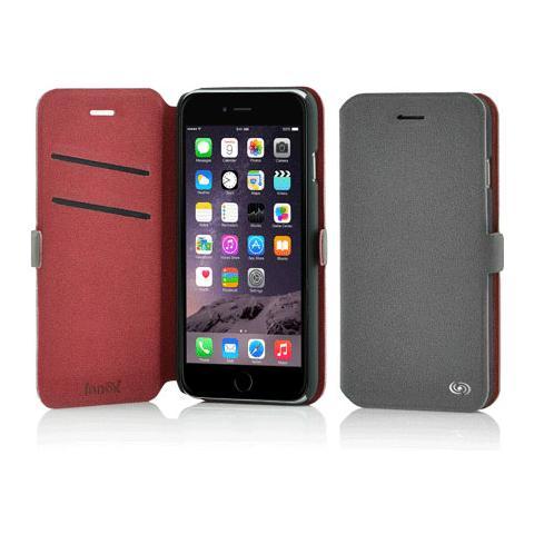 FONEX Elegance Book Custodia a Libro per Iphone 6/6S Bicolore Grigio Chiaro / Rosso