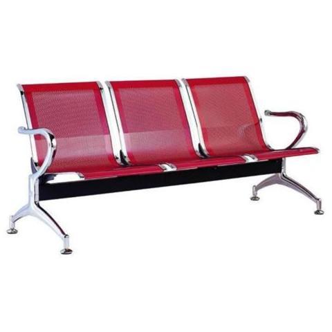 FLEDA TRADING Sedia Panca D'attesa In Metallo Per Ufficio A 3 Posti. Colore Rosso