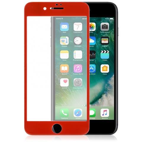 FONEX Vetro Temperato 3D Curvo Protezione Schermo Totale da Bordo a Bordo per Apple iPhone 7 (1Pz) Colore Rosso