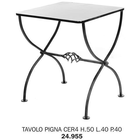 Tavolo Pigna Cer4 H. 50 L. 40 P. 40 Pianale Rete Metallica