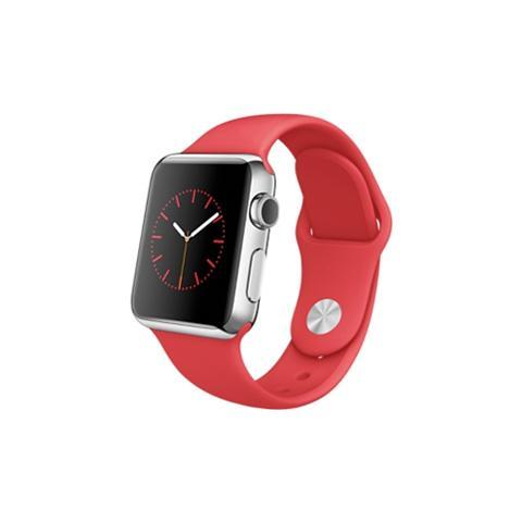 APPLE Watch Serie 1 Cassa 38 mm in Acciaio Inox e Cinturino Sport Rosso con Bluetooth e Wi-Fi