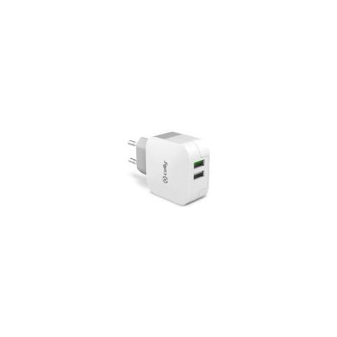 CELLY Caricabatterie da rete universale con 2 porte USB 3.4A - Bianco