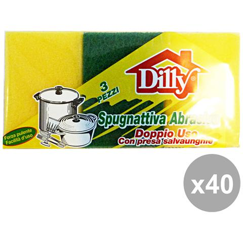 Dilly Set 40 Spugna + Fibra Bassa 3 Pezzi Attrezzi Pulizie