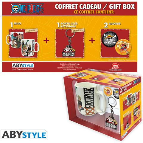 "ABY Style ""One Piece - Pck Mug + Keychain + Badges """"""""new World"""""""""""