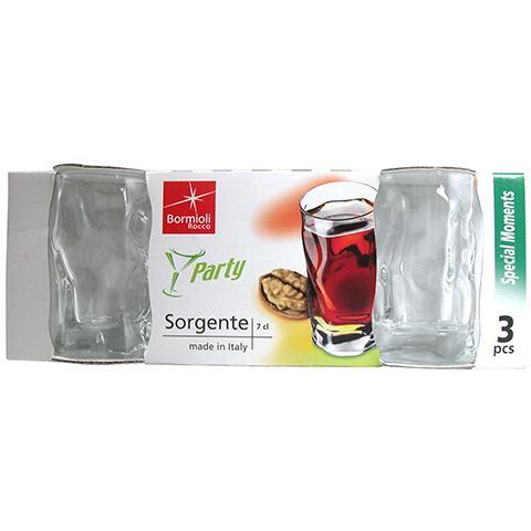 Set 10 X 3 Bicchieri Vetro Sorgente Trasparente Liquore