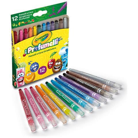 CRAYOLA 52-9712 - I Profumelli - 12 Pastelli A Cera Gira & Colora Profumati