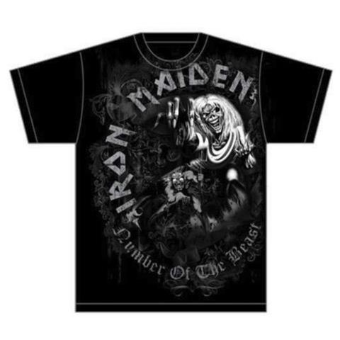 ROCK OFF Iron Maiden - Number Of The Beast Grey Tone (T-Shirt Unisex Tg. M)