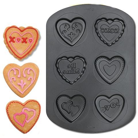 Stampo In Acciaio Antiaderente Per Biscotti A Cuore 6 Cavità