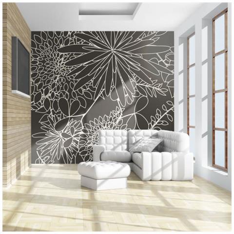 Fotomurale Motivo Floreale In Bianco E