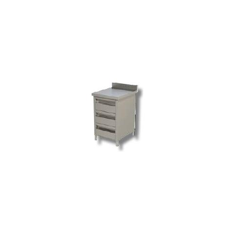 Cassettiera 40x80x90 Acciaio Inox 430 Alzatina 3 Cassetti Ristorante Rs6768