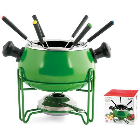 Servizio Fonduta Antiaderente 10 Pezzi Verde Strumenti Da Cucina