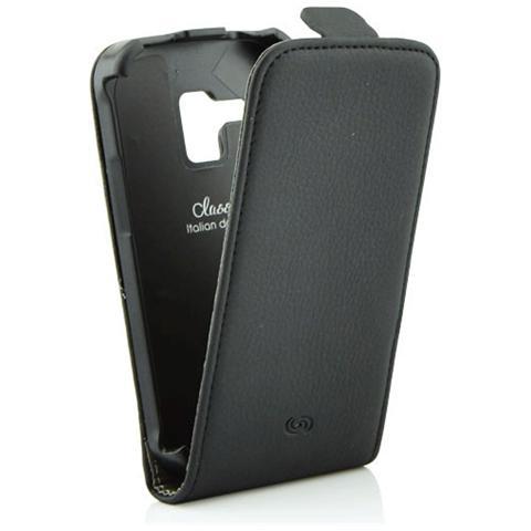 FONEX Classic Flip Custodia a Flip in Ecopelle per Samsung S7560 / S7562 / S7580 Colore Nero