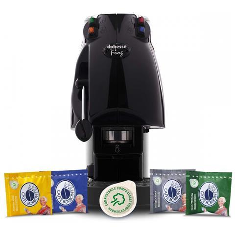 Macchina da Caffè Semi-automatica Frog Serbatoio 1,5 Lt. Potenza 650 Watt Colore Nero + 60...