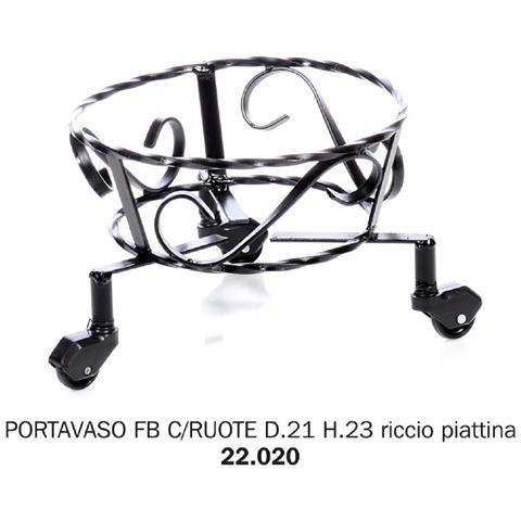 Porta Vaso Ferro Battuto Con Ruote D21 H23 Riccio Piattina