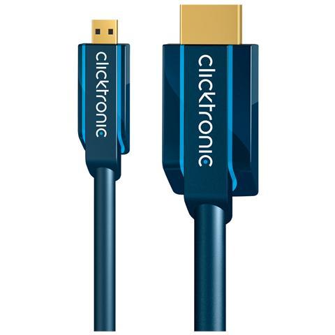 CLICKTRONIC ICOC CLC-HD-020 - Cavo micro-HDMI High Speed Ethernet A / D M / M 2 m Alta Qualità