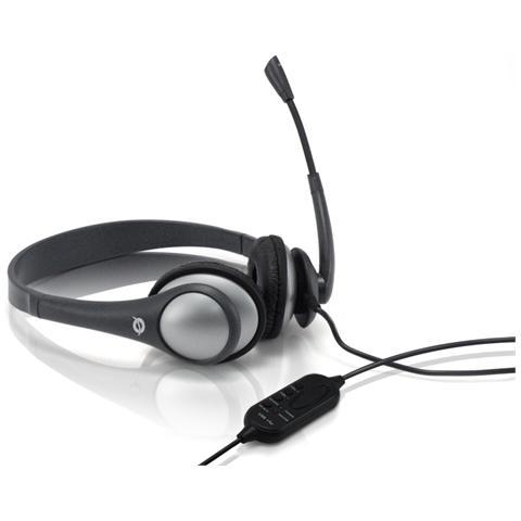 CONCEPTRONIC Cuffie con Microfono Connessione Cavo 2m - Nero / Grigio