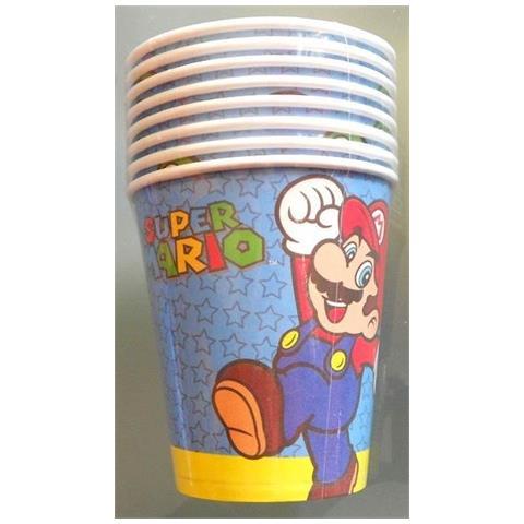 Super Mario - 8 Bicchieri Di Carta